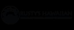 Rusty's Hawaiian logo: 100% Island Coffees, Inspired by a Love Story