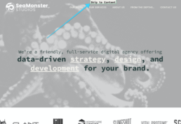 the placement above the menu of the skip to content link SeaMonster Studios uses